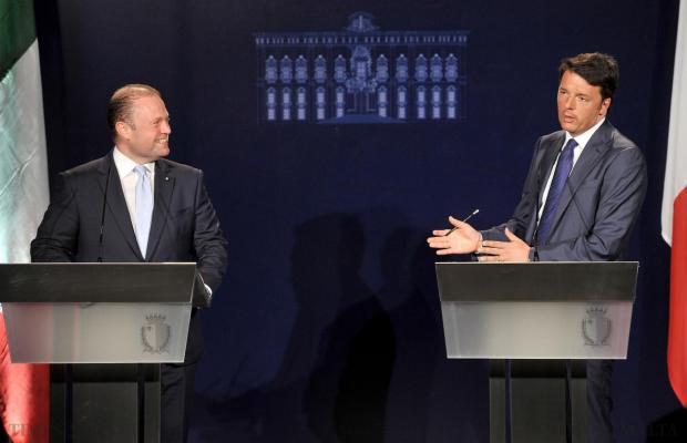 Italian Prime Minister Matteo Renzi (right) and Prime Minister Joseph Muscat address a press conference at Castille on April 9. Photo: Chris Sant Fournier
