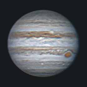 An image of the planet Jupiter, the largest of all planets in our solar system, as shot last week by the author through his telescope. The prominent reddish feature is the Great Red Spot, a giant hurricane, twice the size of the Earth, which has been raging in Jupiter's atmosphere for at least 300 years.