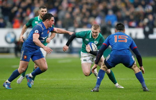 Ireland's Keith Earls in action against France.