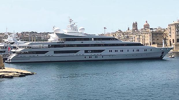 The owners of the 95-metre superyacht Indian Empress, seen here berthed at Grand Harbour, have run up circa €27 million worth of debt with diverse creditors.
