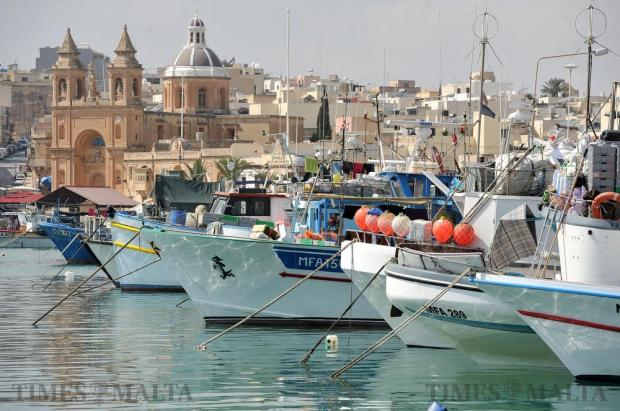 Fishing boats are seen berthed in the fishing port of Marsaxlokk on September 14. Photo: Chris Sant Fournier
