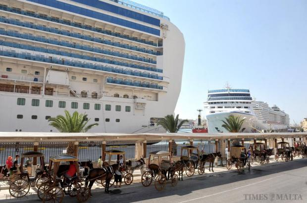 Karozzini wait for tourists from the cruise ships in Grand Harbour on September 2. Photo: Chris Sant Fournier