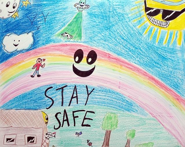 William,10, and Martina,4, tell us to stay safe!