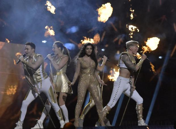Samra Rahimli from Azerbaijan performs Miracle in the final dress rehearsal of the Eurovision Song contest in Stockholm, Sweden, on May 13. Photo: Mark Zammit Cordina
