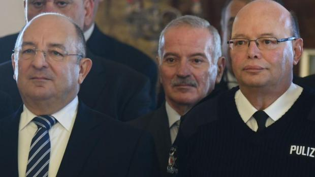 Minister Michael Farrugia (left) and police commissioner Lawrence Cutajar (right). Photo: Jonathan Borg
