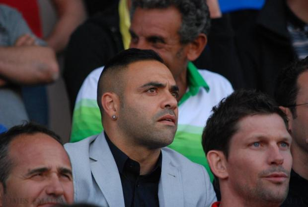 Former Juventus and Palermo striker Fabrizio Miccoli watches the FA Trophy final between Birkirkara and league champions Hiberians at the National Stadium in Ta Qali on May 23. Photo: Mark Zammit Cordina