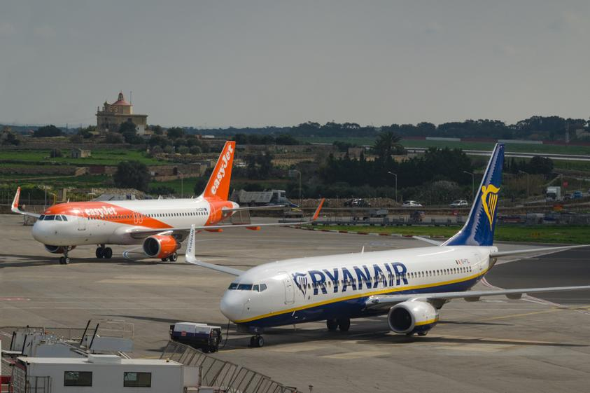 Easyjet and Ryanair planes at Malta International Airport. A Central Bank analysis found that Malta's air connectivity has been taken back 15 years during the COVID-19 pandemic. Photo: Shutterstock