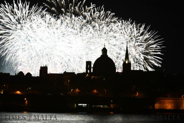 A flutter of fireworks lights up the Valletta skyline, dominated by the dome of the Carmelite basilica, during the Malta International Fireworks Festival on May 1. Photo: Jonathan Borg