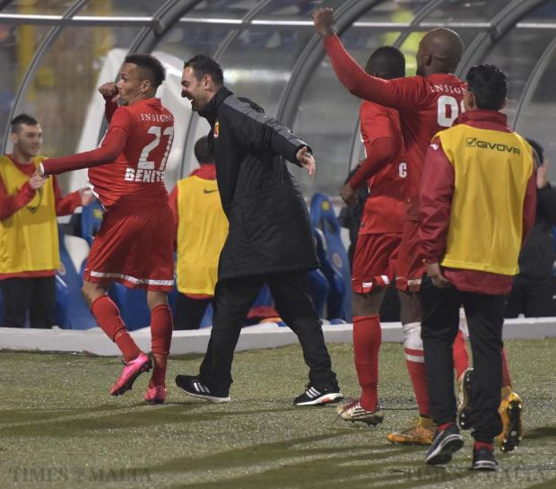 Valletta's Jhonnattann and assistant coach Gilbert Agius celebrate a goal against Hibernians during their Premier League football match at the National Stadium in Ta' Qali on December 20. Photo: Mark Zammit Cordina