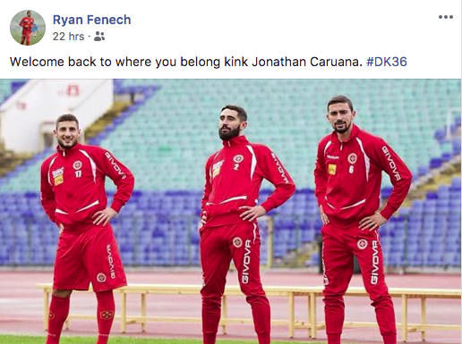 Sliema Wanderers and Malta international Ryan Fenech welcomed Jonathan Caruana on his social media profile.