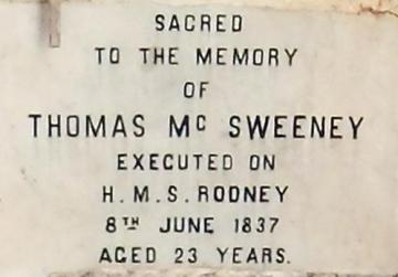 Inscription on marble above McSweeney's burial place.