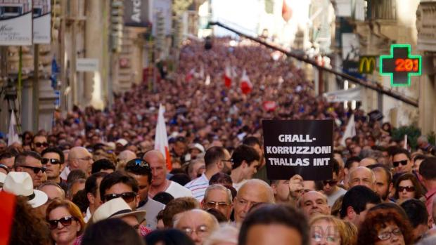 People demonstrate against alleged government corruption in Valletta on March 6. Photo: Steve Zammit Lupi