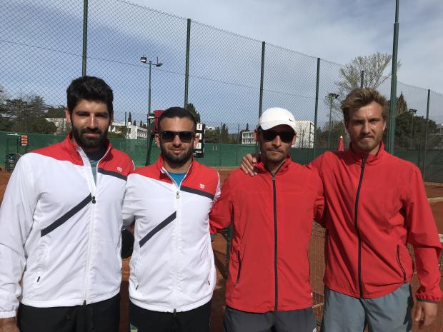 The Malta Davis Cup team in Montenegro.