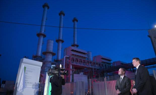 Prime Minister Joseph Muscat and Tourism Minister Konrad Mizzi during the April 2017 inauguration of the new power station.