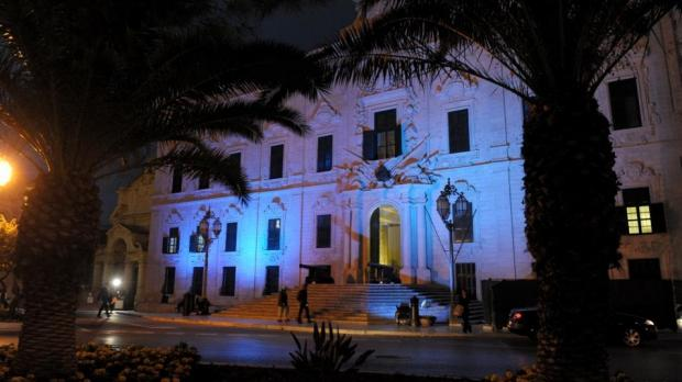 Auberge de Castille lit in blue to mark World Diabetes Day. Photo: Matthew Mirabelli