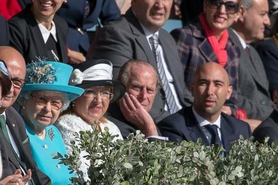 Jean Vella sitting to the left of Prince Philip when he visited the Malta Polo Club in 2015.
