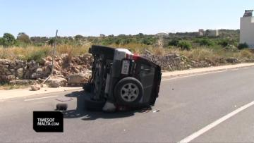 Watch: Two hospitalised after car flips over in Dingli