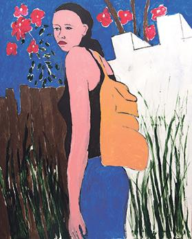 Girl with Backpack, 150x120cm, acrylic on canvas, 2018