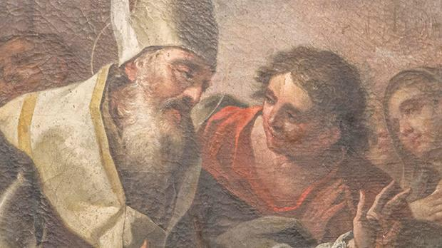 A detail of the painting which shows Bishop Macarius, who accompanied St Helen in her search for the True Cross in Jerusalem.