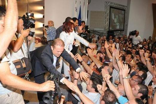 Joseph Muscat is congratulated upon his election as party leader in 2008.