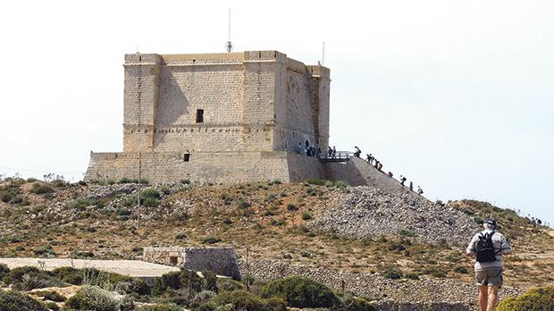 Ramblers visiting Wignacourt Tower on Comino.
