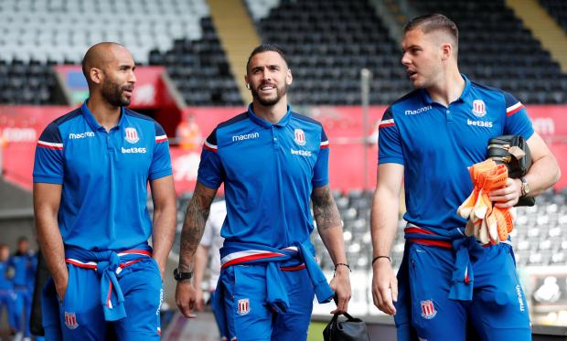 Stoke City's Jack Butland, Geoff Cameron and Lee Grant.