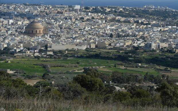 Mosta dome dominates the skyline as seen from Dwejra on January 22. Photo: Matthew Mirabelli