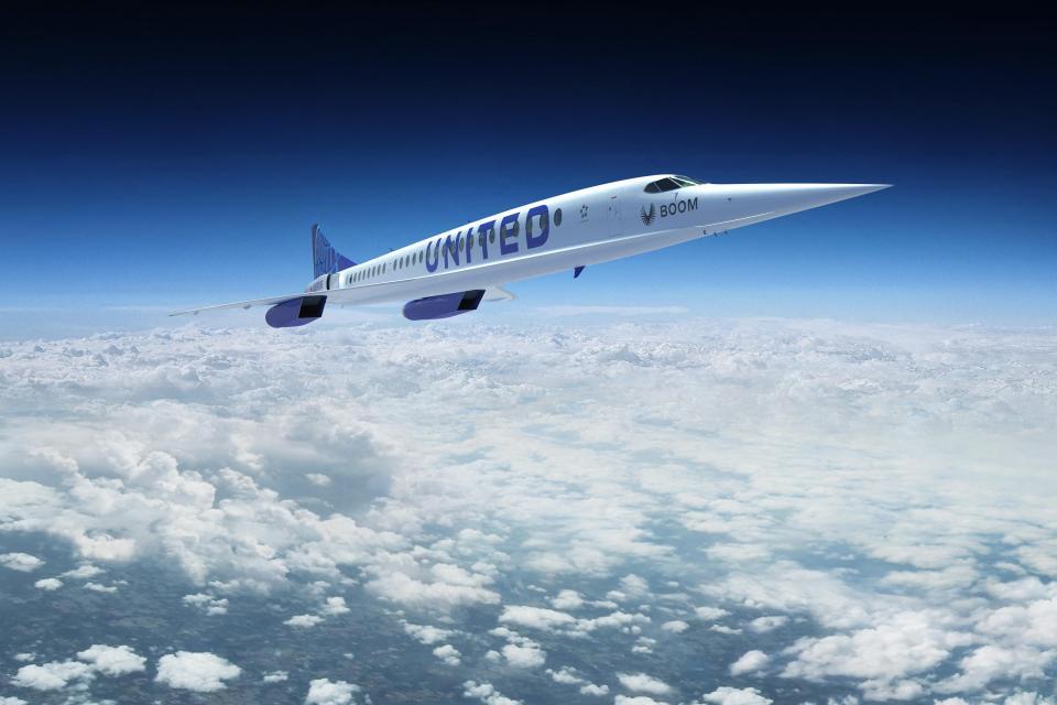 Una representación artística publicada por Boom Supersonic muestra el avión supersónico de la compañía con el logotipo de United Airlines.