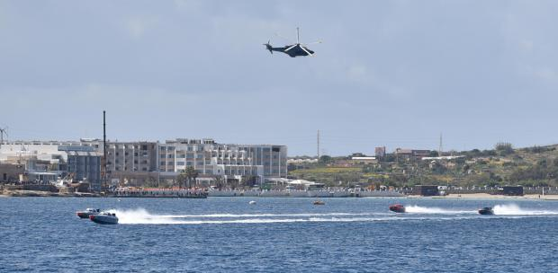 An Army helicopter passes low over powerboats during races held in Mellieha bay on March 24. Photo: Mark Zammit Cordina