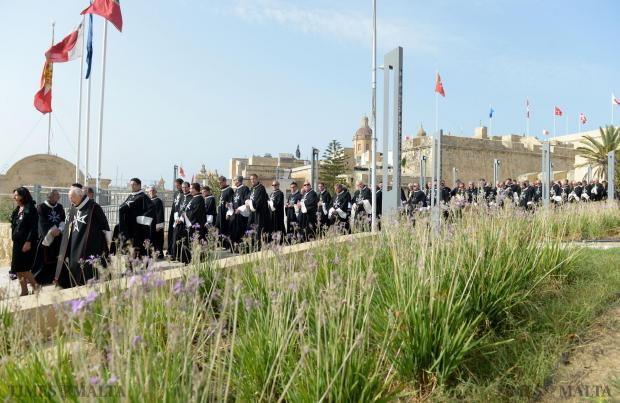 Various members of the Order of the Knights of St John make their way through the streets of Birgu towards St Lawrence church in Vittoriosa. The religious ceremony held on September 6 marked the anniversary of the Great siege. Photo: Matthew Mirabelli