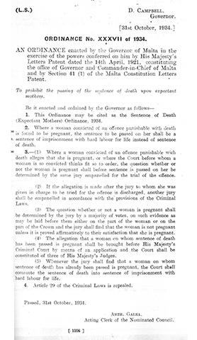 The 1934 law that prohibited the passing of the death sentence upon expectant mothers.