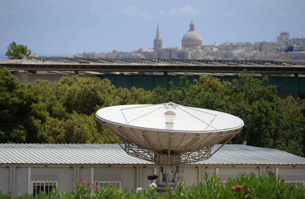 A satellite dish at the university of Malta points to the skies on June 21. Photo: Matthew Mirabelli