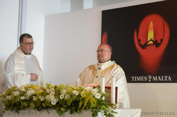 Archbishop Charles Scicluna celebrates mass at the Allied Newspapers offices in Valletta on August 7 to mark the 80th Anniversary of Times of Malta. Photo: Matthew Mirabelli
