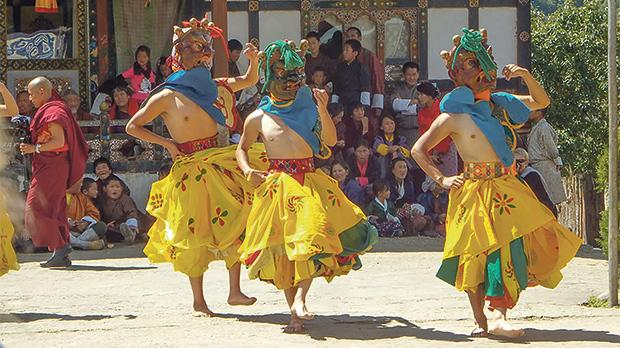 Dancers at the festival in Bumthang Valley.