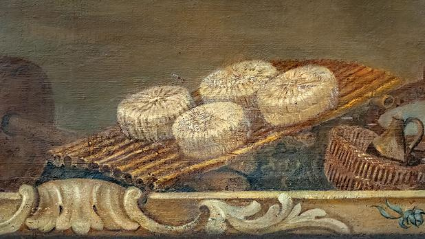 P. Leonetti, dairy products and utensils, detail from the refectory decorative scheme, 1762, Archbishop's Curia, Floriana. Photo: Daniel Cilia, courtesy of the Archbishop's Curia.