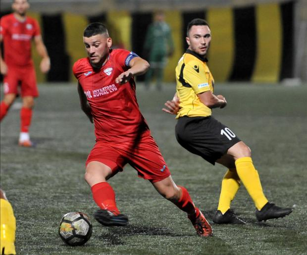 Justin Grioli charges forward for Balzan against Gżira. Photo: Chris Sant Fournier