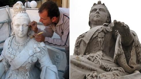 Left: James Licari cleaning the surface of the monument.