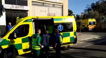 An ambulance at the scene. Photo: Jonathan Borg