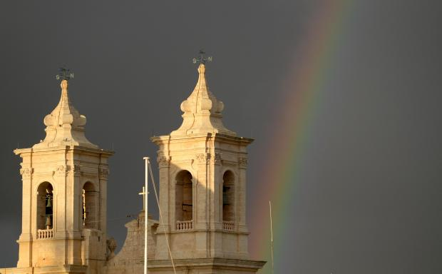 A rainbow appears over the Gharghur Church after a brief downpour on November 17. Photo: Matthew Mirabelli