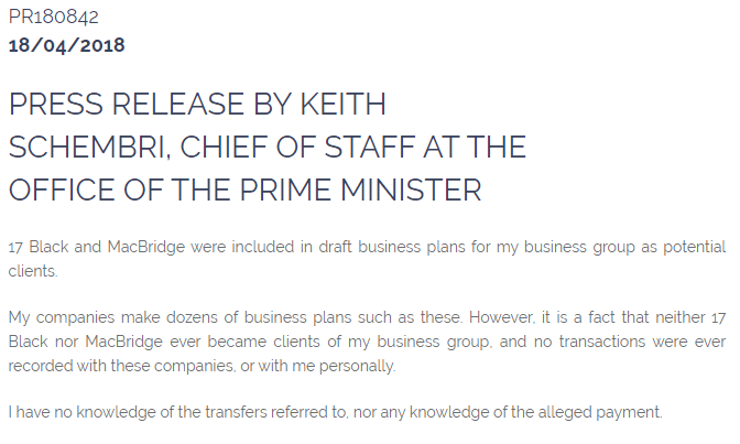 The government press release confirming Keith Schembri's link to 17 Black.