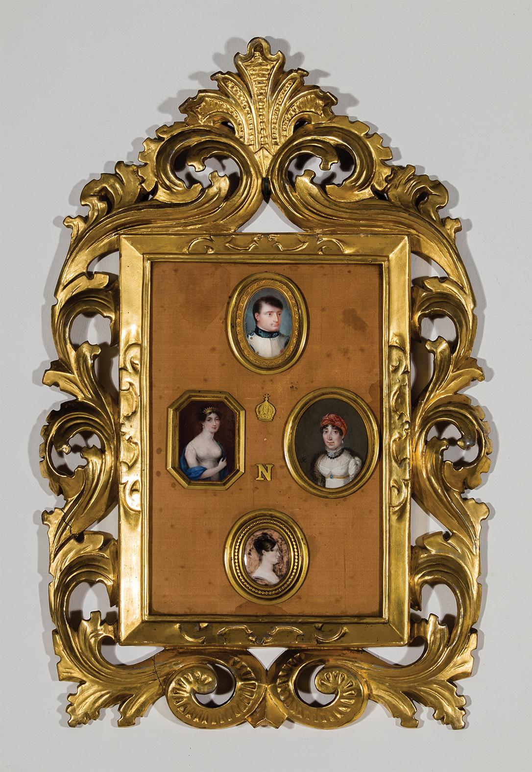 Framed group of Bonaparte family miniature portraits. Author's collection