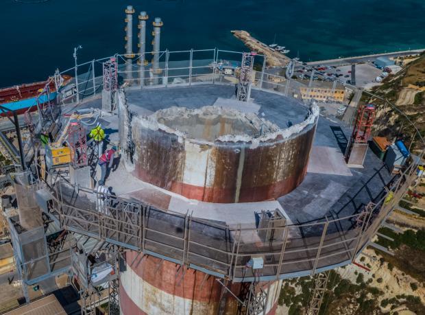 Dismantling of Delimara power station chimney and HFO boiler underway