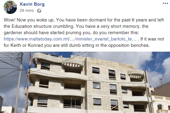 Konrad Mizzi's chief of staff hits out at Mr Bartolo, in a Facebook post he subsequently removed.