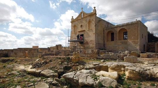 The chapel of San Pawl Milqi and the adjoining Roman villa remains were open to the public yesterday as part of a campaign by Heritage Malta to raise a greater awareness about Malta's rich history. The remains on the site which is close to Burmarrad shed light on the island's economy under the Romans. Photo: Darrin Zammit Lupi.