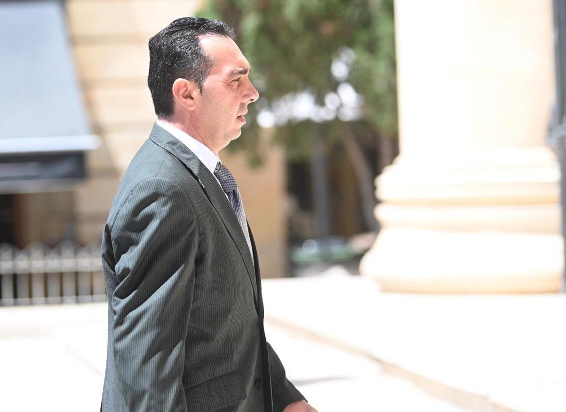 Melvin Theuma entering court on Thursday morning. Photo: Mark Zammit Cordina