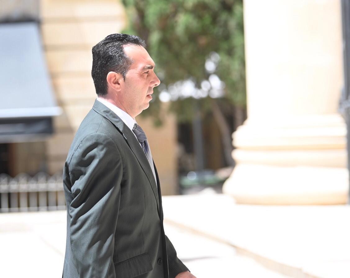Melvin Theuma walking to court earlier this year. Photo: Mark Zammit Cordina.