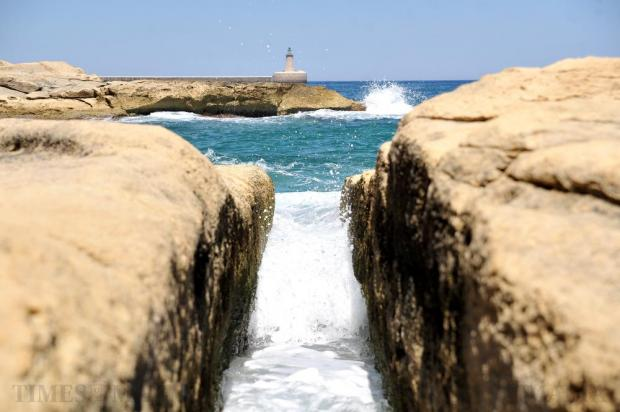 The Grand Harbour breakwater is seen from Rinella on July 20. Photo: Chris Sant Fournier