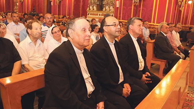Gozo Bishop Mario Grech (right) with Kerċem parish priest Brian Mejlak and Mgr Karm Borg. Photos: Charles Spiteri