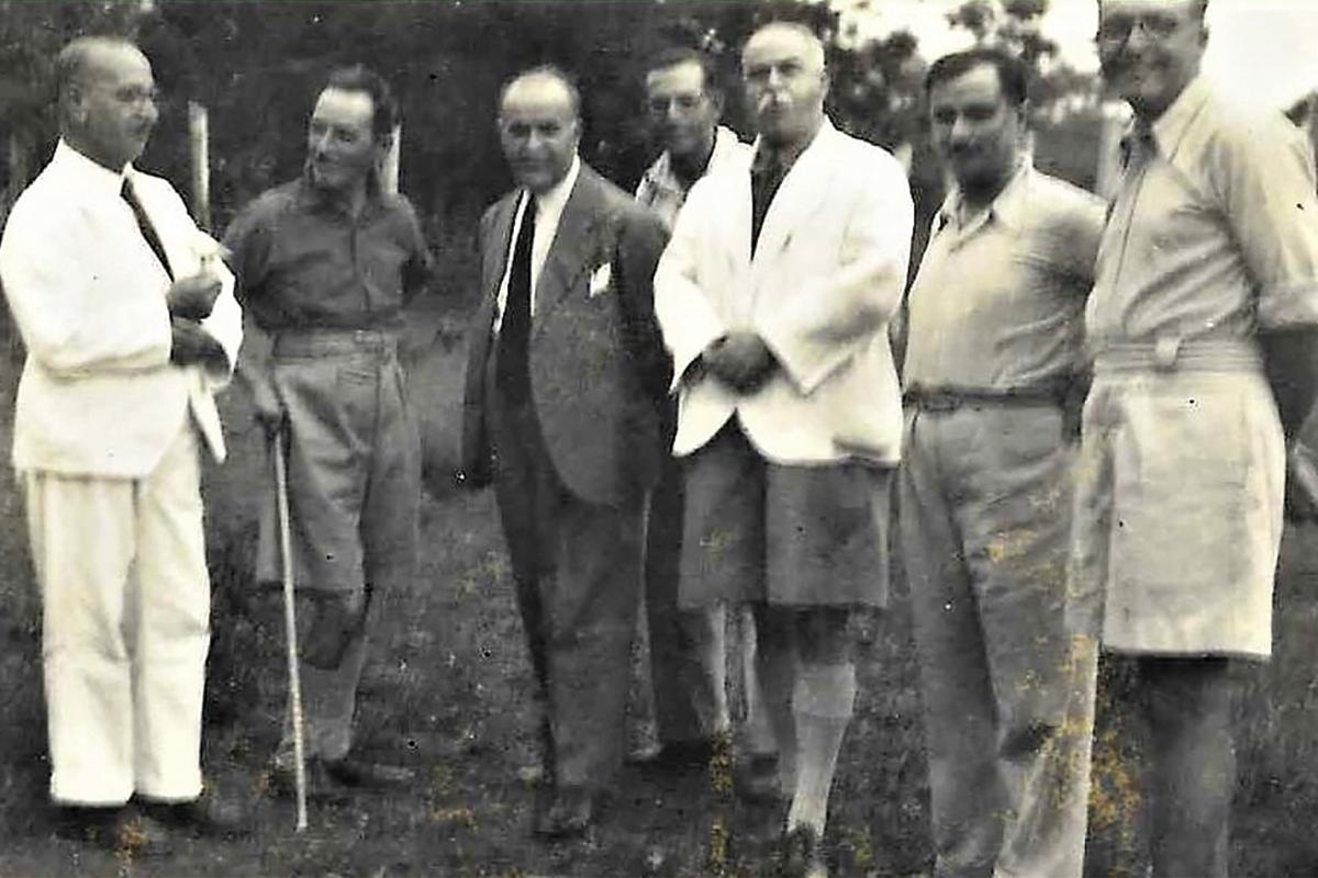 Enrico Mizzi (third from right) with the author's father, Vincenzo (fifth from right), and other Maltese exiles. Photo courtesy of the Fortunato and Enrico Mizzi Foundation