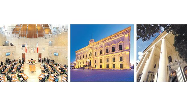 Separation of powers: The legislature, executive and judiciary.